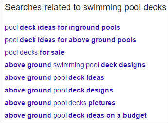 Google related search for keyword ideas