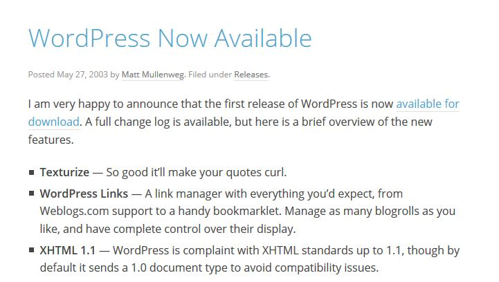 WordPress release May, 2003