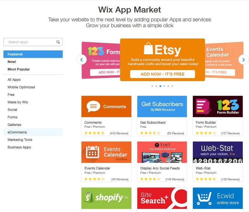 Wix review app market