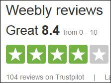Weebly overall customer review score
