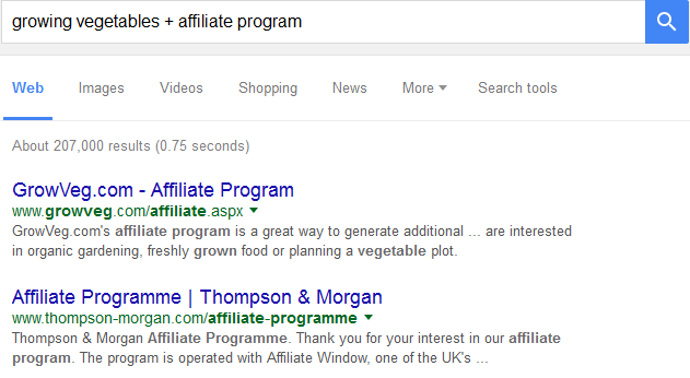 search for affiliate programs