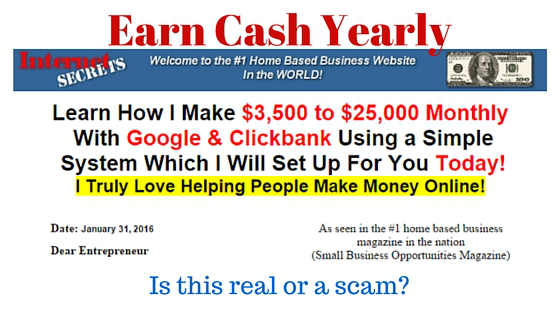 Earn Cash Yearly Internet Secrets Scam Review