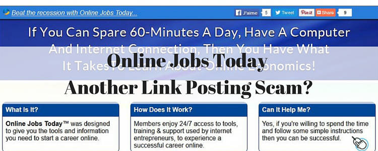 Online Jobs Today Another Link Posting Scam_