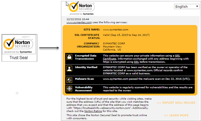 Trust seal to SSL certificate info