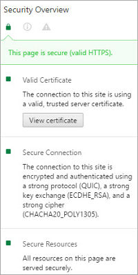 click on the padlock to see details about SSL