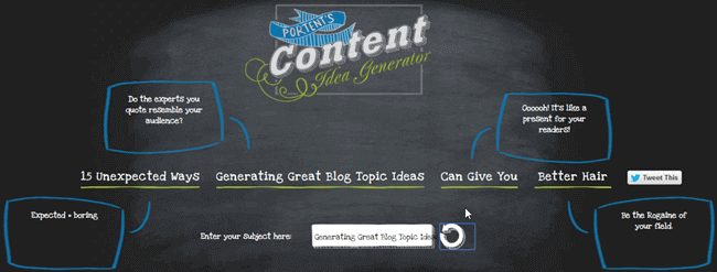 10 tips for generating great topic ideas for your blog for Portent headlines