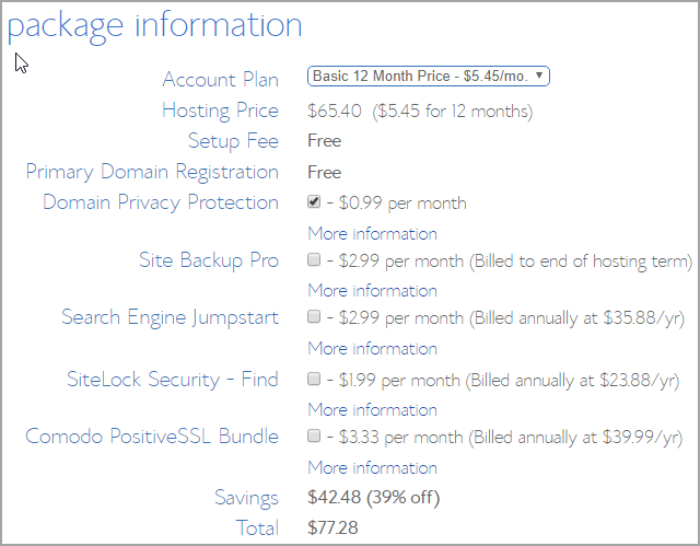 Bluehost hosting package info