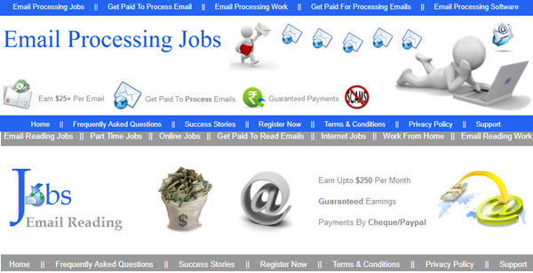 email processing jobs and email reading jobs