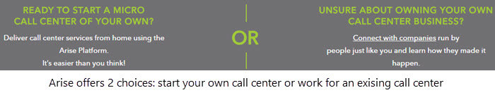 Arise offers 2 choices start a call center or work for someone else