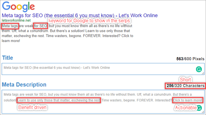 Meta tags for SEO (the essential 6 you must know) - Lets Work Online